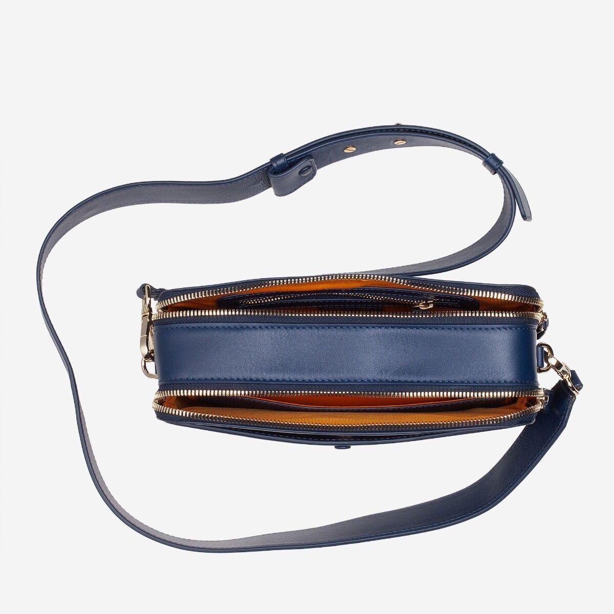 borsa a tracolla pelle con doppia cerniera