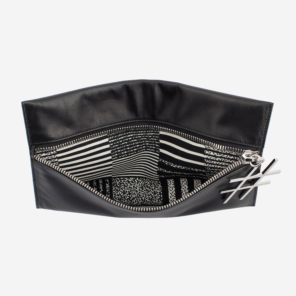 Pochette noire en cuir avec zip